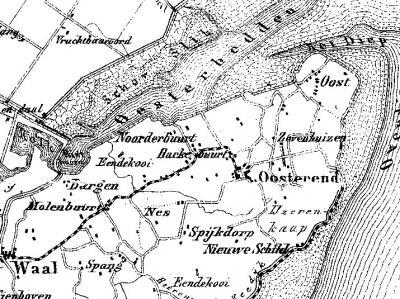 Oosterend (Texel) met omliggende buurtschappen op de gemeentekaart van J. Kuijper anno 1866.