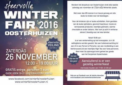 De Winterfair van Oosterhuizen is de eerste winter-/kerstfair in de omgeving van Apeldoorn. Naast de kramen met toepasselijke artikelen, is er natuurlijk warme chocolademelk, glühwein en de, naar wij hebben begrepen, beroemde Oosterhuizense erwtensoep.
