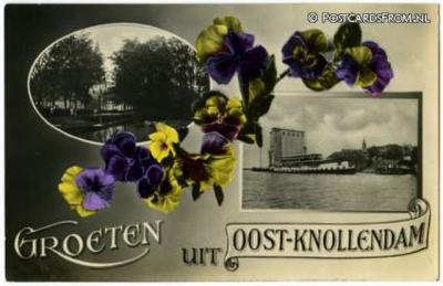 Oost-Knollendam, prachtig versierde ansichtkaart uit ca. 1930