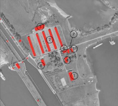 De huidige bebouwing op het eiland Ossenwaard, schematisch getekend