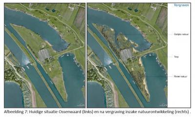 De eigenaar van stuweiland Ossenwaard heeft plannen om het eiland te herontwikkelen tot vier landgoederen, met daarnaast 20 ha nieuwe natuur. Hier een impressie van voor en na de herinrichting. (bron: Bestemmingsplan Eiland Ossenwaard)