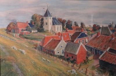 Schilderij dorpsgezicht Oterdum, van Johan Dijkstra, tijdens tentoonstelling over de 3 verdwenen dorpen van de gemeente Delfzijl in www.muzeeaquarium.nl, 2019.
