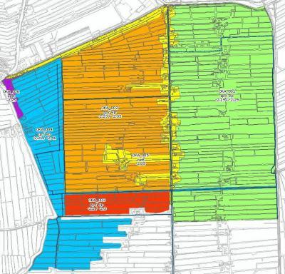 Kaart van de polder en het peilgebied oftewel de waterbeheereenheid Oud-Kamerik van het waterschap. De blauwe 'taartpunt' valt tegenwoordig onder Woerdense Verlaat, het oranje en rode gebied is buurtschap Teylingen, het groene is Oud-Kamerik (©www.hdsr.nl