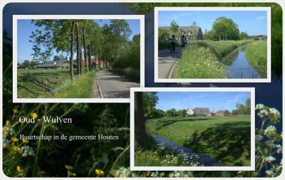 Collage van de nog altijd landelijk gelegen buurtschap Oud-Wulven, net buiten het zeer verstedelijkte en sterk gegroeide Houten. © Jan Dijkstra, Houten.