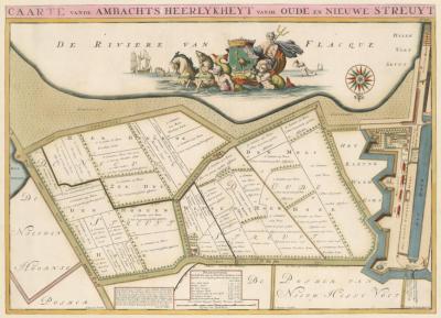 Het gebied Oude en Nieuwe Struiten op een kaart uit het Caartboek 1696, bedoeld voor het innen van het Schot (belasting). Let op: de kaart is 'op zijn kop' getekend. Het N ligt dus onderin!