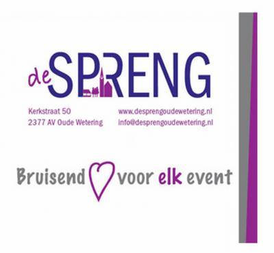 MFC De Spreng is het bruisende dorpshart van Oude Wetering. Geschikt voor bruiloft, familiefeest, diner, high-tea, concert, workshops, expositie, receptie en nog veel meer. Zalen tot 250 personen. Er worden ook evenementen, concerten e.d. georganiseerd.