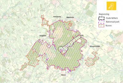 Kaart met de afbakeningen van de voormalige landbouwenclave Oude Willem, het Drents-Friese Wold en het Natura2000-gebied, dat ook nog enkele aangrenzende en omliggende gebieden omvat. (© www.fryslan.frl)