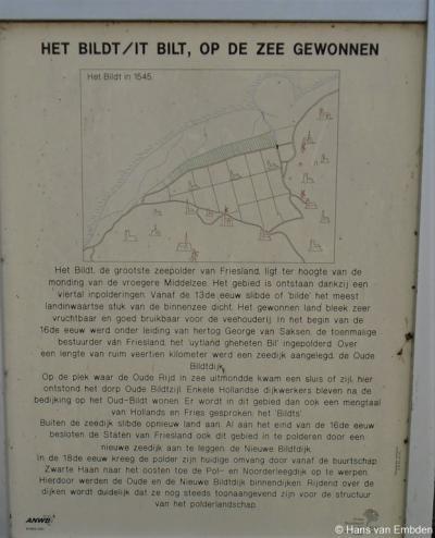 Oudebildtzijl, informatiepaneel over het ontstaan van de streek Het Bildt.