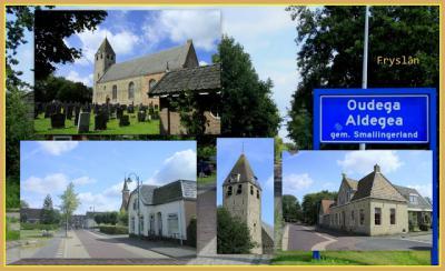 Oudega, collage van dorpsgezichten (© Jan Dijkstra, Houten)