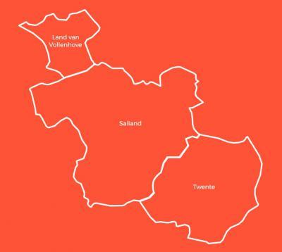 De provincie Overijssel is vanouds verdeeld in de regio's Twente, Kop van Overijssel (vroeger Land van Vollenhove geheten) en Salland - al het andere. Tegenwoordig is daarbinnen sprake van de subregio's IJsseldelta, Reestdal en Vechtdal. © www.entoen.nu