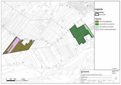 Kaart met de ligging van de landgoederen en Natura 2000-gebieden Overlangbroek (links) en Kolland (rechts) met hun eigendomsverhoudingen (© Grontmij www.grontmij.com)