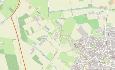 De buurtschap Pandelaarse Kampen ligt rond de gelijknamige weg, direct NW van de dorpskern van Gemert, en grenst in het N aan de N616 (Gemert-Veghel), die ter plekke Koksedijk heet, en in het Z aan de waterloop De Rips. (© www.openstreetmap.org)