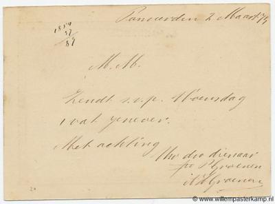 (Achterzijde van het poststuk uit 1874 van hierboven) Maar de inwoners bleven gewoon 'Pannerden' schrijven.