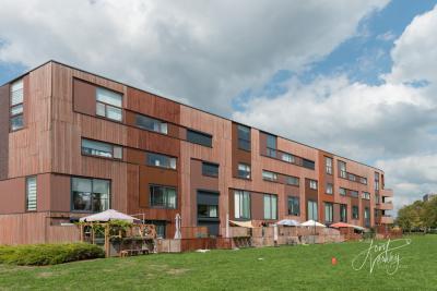 Papendrecht is na de Tweede Wereldoorlog in hoog tempo volgebouwd (kijk maar eens op http://topotijdreis.nl). Gelukkig doen architecten wel hun best om er geen 13-in-een-dozijn van te maken, zoals deze woningen met houten gevelbekleding. (© Joost Verweij)
