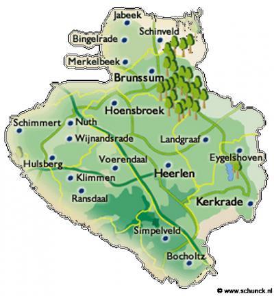 Wat vroeger de Oostelijke Mijnstreek was, heet tegenwoordig Parkstad. Een toepasselijke naam die de verstedelijking én de 'vergroening' die na de mijnbouwtijd heeft plaatsgevonden, goed weergeeft. Op deze kaart zie je de afbakening van de regio Parkstad.