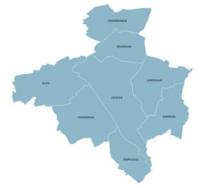 Gestileerde weergave van de regio Parkstad, en de ligging van de 8 gemeenten daarin ten opzichte van elkaar. (© http://zonnepanelenprojectparkstad.nl)