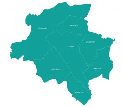 Gestileerde kaart van de regio Parkstad, en de ligging van de gemeenten daarin, situatie vanaf 2019 (in dat jaar zijn de gemeenten Onderbanken, Nuth en Schinnen gefuseerd tot de gemeente Beekdaelen).