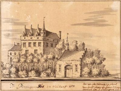 Kerk en Kasteel Persingen anno 1571 (in 1722 nagetekend door F. Stellingwerf)
