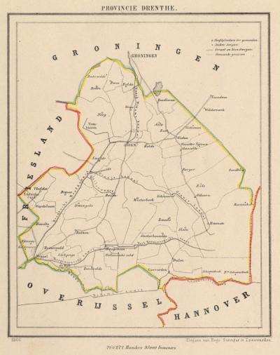 Provincie Drenthe anno ca. 1870, kaart J. Kuijper (collectie www.atlasenkaart.nl)