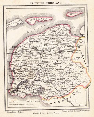 Provincie Fryslân anno ca. 1870, kaart J. Kuijper (collectie www.atlasenkaart.nl)