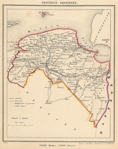 Provincie Groningen anno ca.1870, kaart J. Kuijper (collectie www.atlasenkaart.nl)