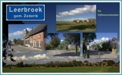Het dorp Leerbroek heeft een omvangrijk buitengebied en een compacte dorpskern, met op de foto enkele monumentale panden en de kerktoren uit ca. 1500. (© Jan Dijkstra, Houten)