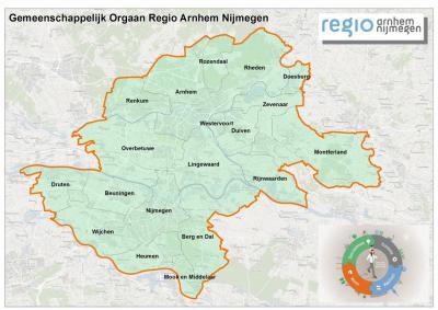 Sinds 2016 is er de Gemeenschappelijke Regeling Regio Arnhem Nijmegen, waarin 19 gemeenten samenwerken op het gebied van duurzaamheid, economie, wonen en mobiliteit. Aanvankelijk was dit het KAN, en t/m 2015 Stadsregio Arnhem Nijmegen (© www.regioan.nl)