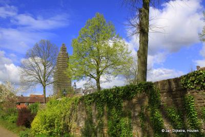 Oud Rhenen. Een stukje prachtig begroeide stadsmuur in het hele vroege voorjaar.
