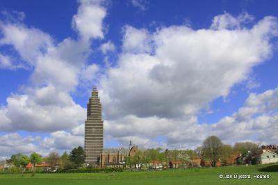 Vanaf de Rijndijk hebben we een prachtig uitzicht op de Cunerakerk en toren