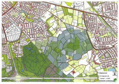 Op deze kaart is goed te zien dat buurtschap Riel in de groene corridor tussen Eindhoven (W) en Geldrop (O) ligt. De blauw geaccentueerde gebieden worden beheerd door Brabants Landschap. Buurtschap Riel ligt N daarvan.