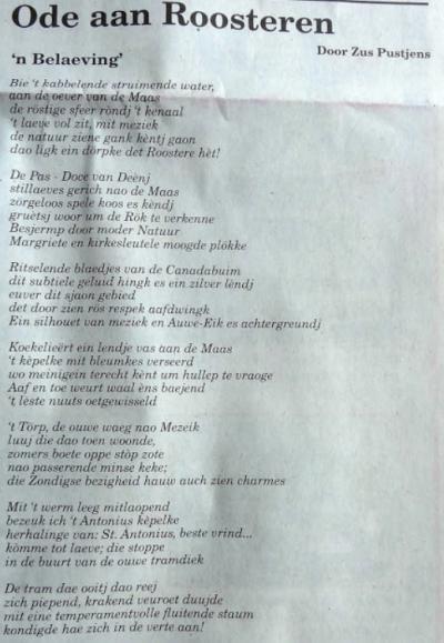 Prachtig gedicht 'Ode aan Roosteren', door Zus Pustjens.