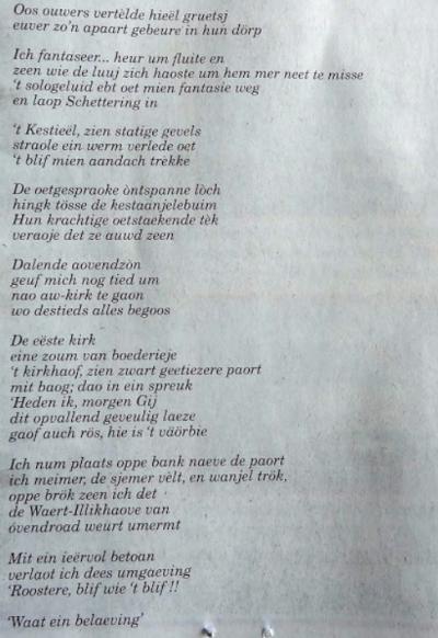 Prachtig gedicht 'Ode aan Roosteren', door Zus Pustjens (deel 2). (fotocollectie Hans Noblesse)