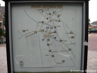 Rossum, plattegrond van het dorp anno ca. 1900