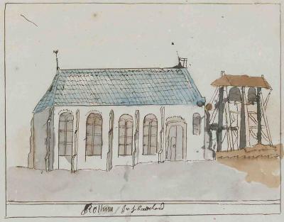 De kerk en klokkenstoel van Rottum, in de 'Korte Beschreijving van de Steden Dorpen Gehugten en Heeren-huizen der Heerlykheid Vriesland Benevens Desselfs Afbeeldingen Meest na 't leven getekent By een Vergaderdt Door Andries Schoemaker' (1710-1735).