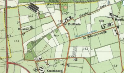 Jaren tachtig: de verbinding tussen het wegdeel van Duifhuis 7/9/10 en de rest van de buurtschap wordt verbroken. Het 'afgesneden' wegdeel wordt hernoemd in straatnaam Rusven en de kaartenmakers maken er ook gelijk maar een gelijknamige buurtschap van.