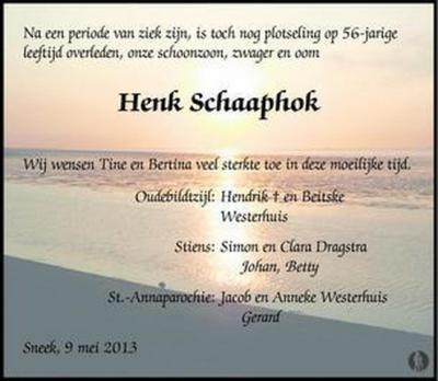 Er zijn ook families met de achternaam Schaaphok. De voorouders daarvan zijn, in ieder geval deels - wellicht zijn er nog meer 'takken' -, afkomstig van de gelijknamige buurtschap bij Slochteren.