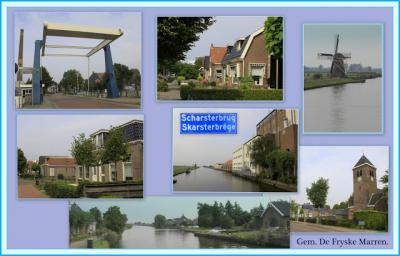Scharsterbrug, collage van dorpsgezichten (© Jan Dijkstra, Houten)