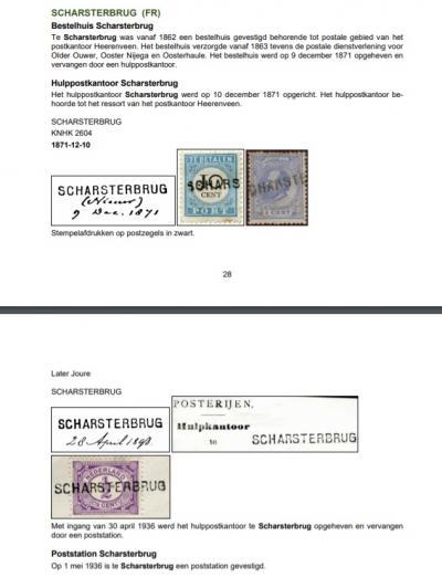 In 1862 krijgt buurtschap Scharren een bestelhuis, onder de naam Scharsterbrug. Mogelijk werd daarmee deze plaatsnaam bedoeld óf alleen de locatie van de postale inrichting bij de brug. Zie verder het hoofdstuk Naam. (© http://nedacademievoorfilatelie.nl)