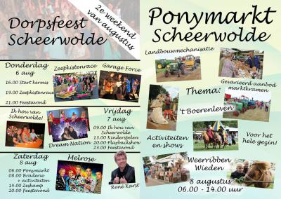 In het 2e weekend van augustus staat Scheerwolde altijd op z'n kop tijdens het Dorpsfeest, waar zoals je kunt zien - in dit geval op de flyer van 2015 - altijd heel veel te doen is, met voor elk wat wils.