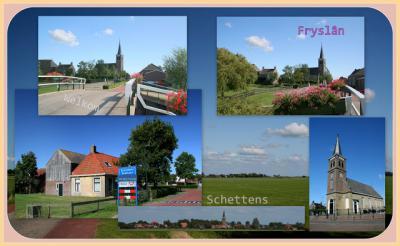 Schettens, collage van dorpsgezichten (© Jan Dijkstra, Houten)