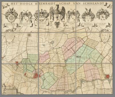 Kaart van het Hoogheemraadschap Schieland uit 1684, door Jan Jansz. Stampioen de Oude (Kaartcollectie Zuid-Holland Ernsting)