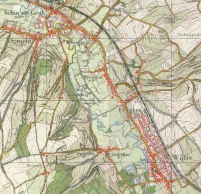 Je zou op het eerste gezicht denken dat Schoonbron altijd een buurtschap van het dorp Schin op Geul is geweest, omdat die aan elkaar zijn gegroeid. Schoonbron was vóór 1982 echter een N uithoek van gemeente en dorp Wijlre, zoals op deze kaart is te zien.