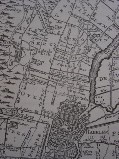 Fragment van de kaart uit het Zegepralent Kennemerlant, 1729, met daarop N van Haarlem de heerlijkheden op het grondgebied van de latere gemeente Schoten