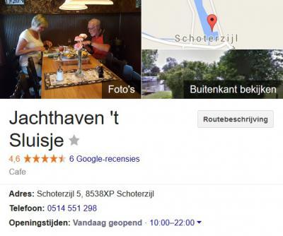 Jachthaven en Eetcafé 't Sluisje meldt op Google Maps dat ze op Schoterzijl 5 in Schoterzijl zijn gevestigd. En dat is natuurlijk ook zo. De buurtschap heeft echter helaas geen eigen postcode, waardoor Schoterzijl voor de post zogenaamd 'in' Bantega ligt.