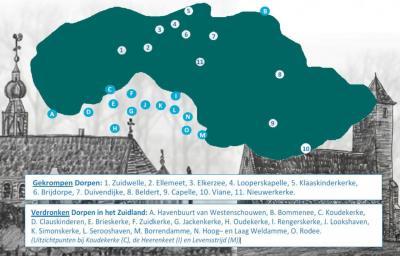 Op Schouwen-Duiveland zijn vele dorpen verdwenen, dan wel 'gekrompen'. Hier zie je welke dat betreft. De toelichting hierop vind je in het hoofdstuk Geschiedenis. (© https://www.schouwen-duiveland.nl/inwoners/gemeentearchief/wie-zijn-we.html)