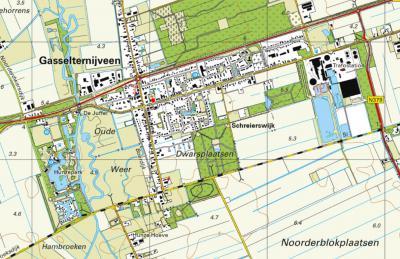Kaart van het dorp Gasselternijveen, met direct Z daarvan de onder dit dorp vallende buurtschap Schreierswijk, met het in de jaren 1990 en 2000 aangelegde Schreiersbos. (© https://www.kadaster.nl/)