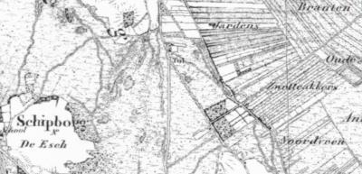 Op deze kaart uit ca. 1850 is het huizengroepje dat later als buurtschap Schuilingsoord is gaan heten al wel afgebeeld, in het Z van de Lageweg, ZO van de tol op de kruising Oude Tolweg/Hogeweg. De plaatsnaam is kennelijk pas in of rond 1899 toegekend.