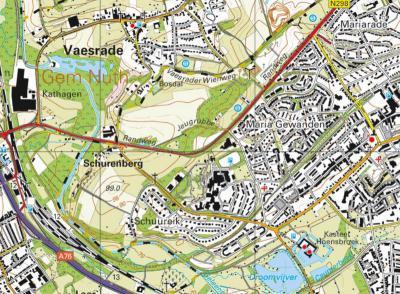 Actuele kaart met o.a. de buurtschappen Schurenberg en Terschuren. Die laatste plaatsnaam is ten onrechte van de kaarten verdwenen. De bebouwing is er immers nog altijd en niet door Hoensbroek opgeslokt. O ervan is de wijk Schuureik verrezen. (© Kadaster)