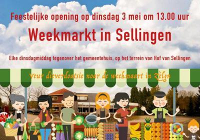 Sinds mei 2016 is er iedere dinsdagmiddag een gezellige weekmarkt in het centrum van Sellingen. Een aanwinst voor de inwoners en voor de toeristen die in de omgeving verblijven.