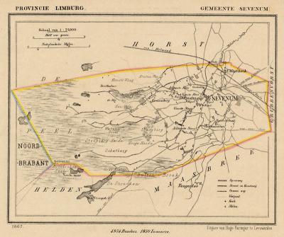 Gemeente Sevenum anno ca. 1870 kaart J. Kuijper